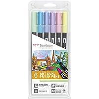 Tombow Dual Brush - Estuche 6 rotuladores doble punta pincel, multicolor