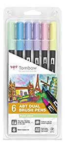 Tombow ABT Dual Brush Pen - Pastel (Pack of 6)