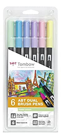 Tombow ABT-6P-2 Lot de 6 Feutres pinceau à 2 pointes, couleurs pastel