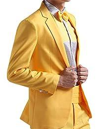 YZHEN Homme 2 pièces à Poitrine Simple Costume Veston et Pantalon 06eda180edd