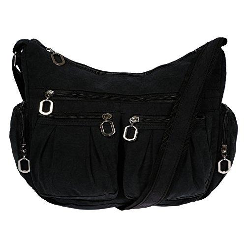 Schwarze Stoff-handtasche (Christian Wippermann Damenhandtasche Schultertasche aus Canvas Schwarz)