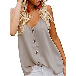 Verano de Las Mujeres Camisa sin Mangas Superior de la Blusa Camisetas sin Mangas Casuales