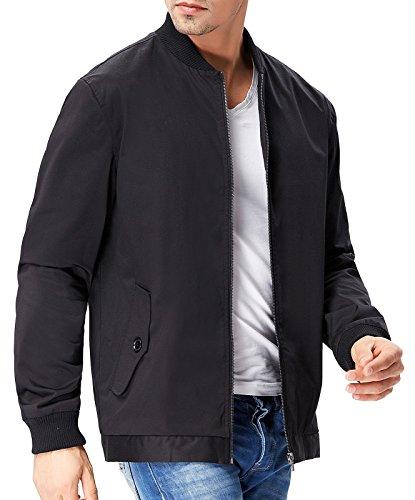 Hochwertige Verarbeitung Herren Jacke Schwarz Mantel Langarm Herren Pea Coat Größe XL PJ0029-1 (Kragen Pea Coat)