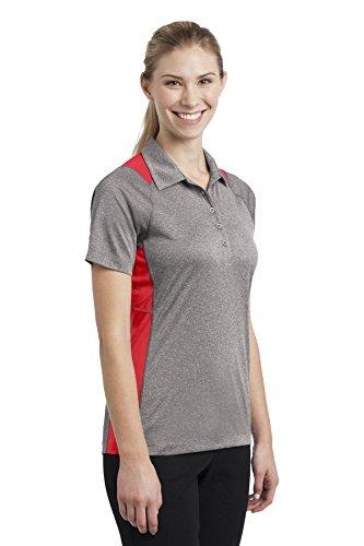 Sport-Tek-Secondo le donne s-Polo da uomo, Colorblock Contender Vnt He/Tr Red