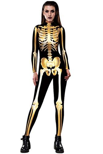 URVIP Skelett Overall Damen Knochen Skeleton Halloween Kostüm Bodysuit Anzug Karneval Fasching BAX-007 ()