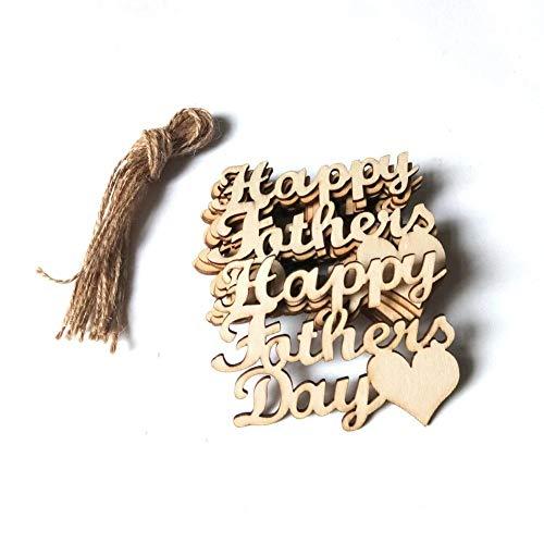 10 Stück Holz Basteln Vatertag Anhänger Vatertag Dekoration Zubehör Verzierungen Buchstaben Anhänger Dekoration