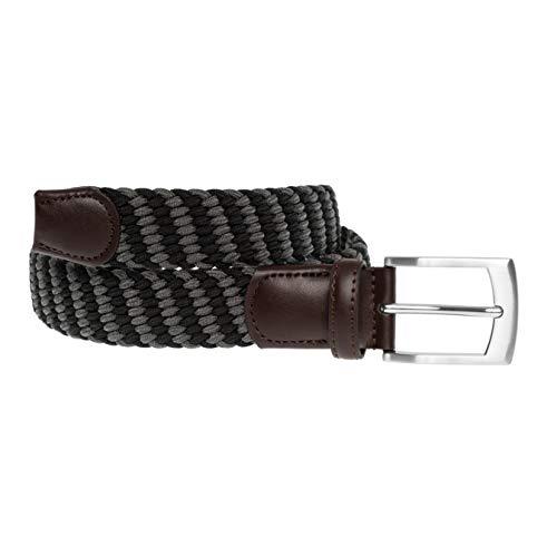 LUUK LIFESTYLE Hochwertiger, elastischer, geflochtener Stretch-Gürtel mit echtem Premium Vollrindleder, schwarz/grau, 115 cm