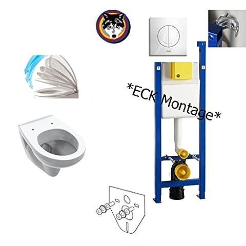 WISA ECK Vorwandelement ,V&B Saval WC Komplettset + Deckel Softclose, Lotusclean