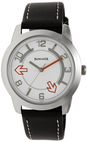 Sonata Yuva Analog White Dial Men's Watch-NK7924SL03