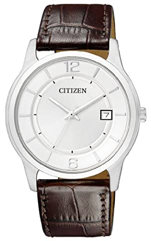 Citizen - BD0021-19A - Montre Homme - Quartz Analogique - Cadran Blanc - Bracelet Cuir Marron