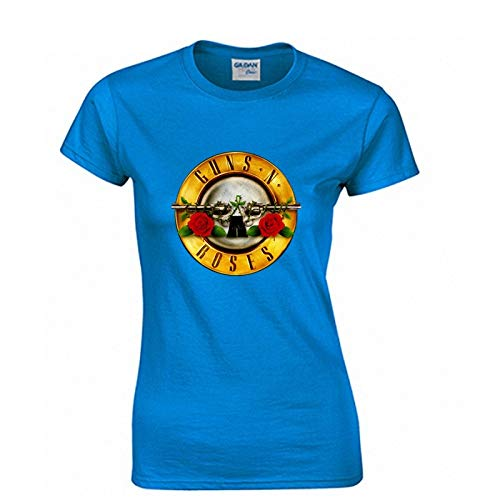 JJZHY Rock Guns N \'Roses Kurzarm T-Shirt Damen GNR Band Lässige Baumwolle Kurzes T-Shirt,Blau,XXL