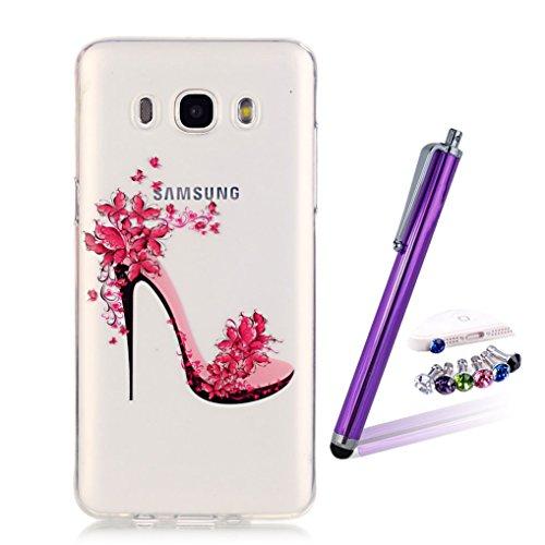 LOOKAY Coque Galaxy J5 2016,Etui Ultra Mince Housse Silicone Transparent pour Samsung Galaxy J5 2016 Coque de Protection en TPU avec Absorption de Choc Bumper et Anti-Scratch, Plume colorée 07HUA