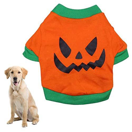 MAJGLGE Dog Accessories T-Shirt Pet Dog Clothes Halloween T-Shirt Soft Evil Face Costume Jacket Vest Apparel - Orange+Green M (Halloween Horror Nights 24-t-shirts)