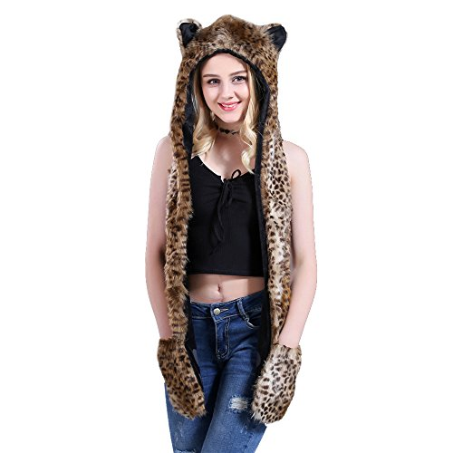 Missley Leopard mit Kapuze 3-in-1 Multifunktion Winter Handschuh Schal Hut Mode Frau Kopfbedeckungen Schön Geschenke Zum Weihnachten Halloween (Leopard Kapuzen Schal)