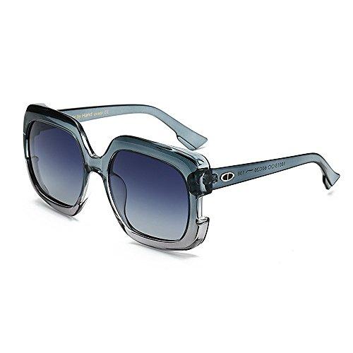 Yiph-Sunglass Sonnenbrillen Mode Damensonnenbrillen Stilvolle Große für Frauen Quadrat Farbverlauf Rahmen Sonnenbrillen UV-Schutz Umrandete Klassische Dame für das Fahren von Reisen (Farbe : Blau)
