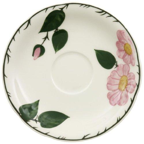 Villeroy & Boch Wildrose Untertasse, 16 cm, Premium Porzellan, Weiß/Grün/Rosa