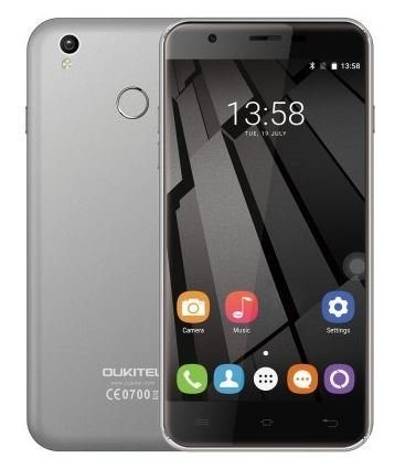 "OUKITEL U7 Plus - 5.5"" Fingerprint HD Schermo 4G Smartphone Android 6.0 1.3GHz MT6737 Quad Core 2G RAM 16G ROM, 8.0MP+2.0MP Camera, Dual SIM, Grigio"