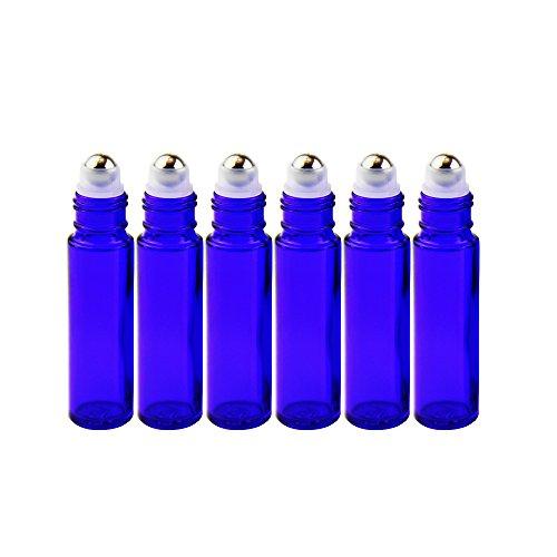 One Trillion One trillion blau roll on flasche leer 10mlroll-on glasflaschen klein mit edelstahl-roller ballfürÄtherisches Ölaromatherapie-gemischeparfümmassage - 6pcs