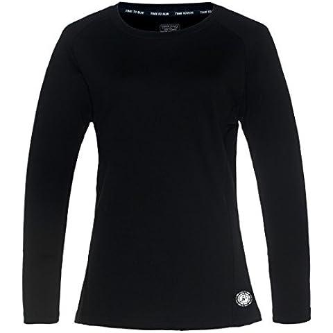 Time to Run Mujer Favourite Camiseta de Running/Gimnasio/Formación Manga Larga 40 Negro