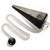 Péndulo cónico de cristal para radiestesia y sanación - gemas naturales genuinas (Turmalina Negra)