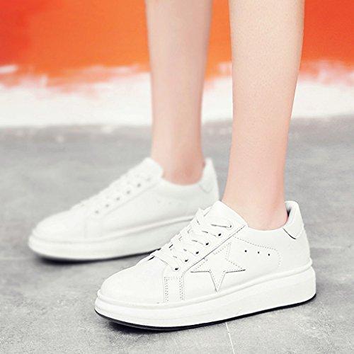 HWF Scarpe donna Primavera piccolo bianco sportivo piattaforma casual fondo spesso piatto scarpe scarpe da donna studente femminile ( Colore : White black , dimensioni : 39 ) Bianca