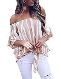 f2260f6a26732e DOKOTOO Womens Striped Off Shoulder 3 4 Bell Sleeve Tops Ruffled Tie Front  Shirts Blouse