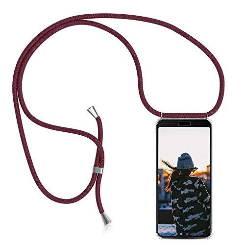 Handykette Kompatibel mit Huawei P8 Lite 2017 Hülle, Smartphone Necklace Schutzhülle, mit Band Stylische Transparent Stoßfest Kratzfest Silikon Handyhülle - Schnur mit Case zum Umhängen in Jujube rot