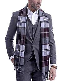 Cashmere tartán manta hombres de invierno de la bufanda de la franja de cheques engrosamiento y chal a cuadros bufandas Wraps