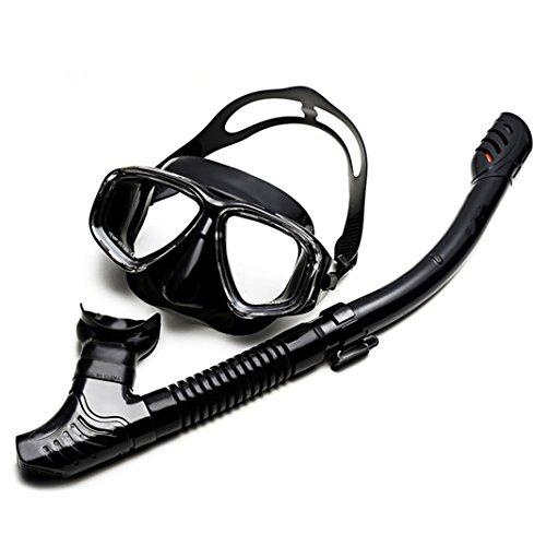 Schnorchelset Anti-Fog Snorkeling Mask, Anti-Leck Tauchermaske Dry Schnorchel - Snorkeling Set für Mann&Damen, Erwachsene Volle Trocken Tauchen Taucherbrille Schnorchel Kits Tauchen Brillen, Schnorchel Ausrüstung - Schwarz