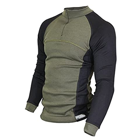 Raptor Hunting Solutions Merino Wool Thermal Underwear Base Layer Long Sleeve Zip Collar Shirt Green Black green-black (M)