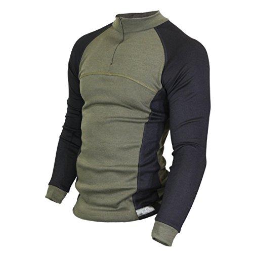 Raptor Hunting Solutions Merinowolle Thermal Unterwäsche Base Layer Langarm Kragen Reißverschluss Shirt Grün Schwarz green-black (XL)