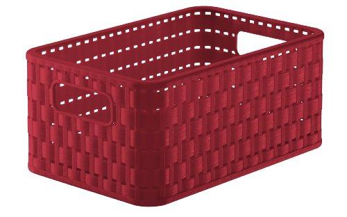 Rotho Country Aufbewahrungskiste 6 l in Rattan-Optik, Kunststoff (PP), rot, A5 / 6 Liter (28 x 18,5 x 12,6 cm) -