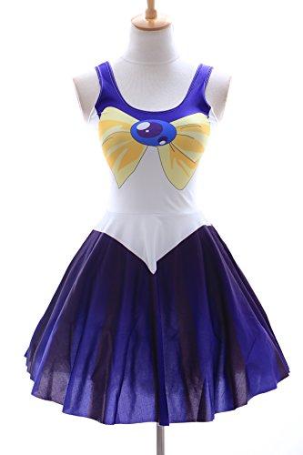 SK-08 Gr. S-M Sailor Moon Uranus blau blue Kleid dress Cosplay Manga Japan (Kostüm Uranus Sailor)