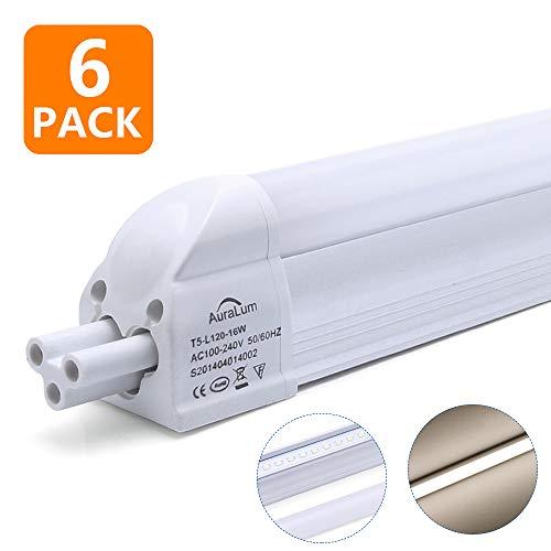 Auralum 6er T5 60cm LED Leuchtröhre in 8W-60 Watt Ersatz Mit der Milchigen Abdeckung, G5 LED Tube mit 810 Lumen in Neutralweiß (4500K) -