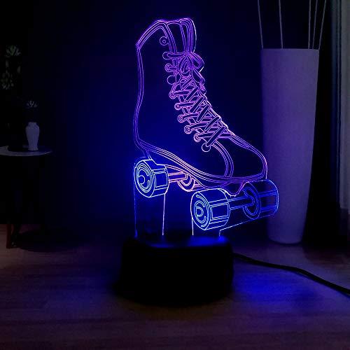 LWJZQT 3d nachtlicht Cool Boy Girl Rollschuh Rgb Usb Touch Gemischt Dual Multicolor Led Nachtlicht 3D Home Dekoration Remote Desk Lampe Junger Mann Geschenk