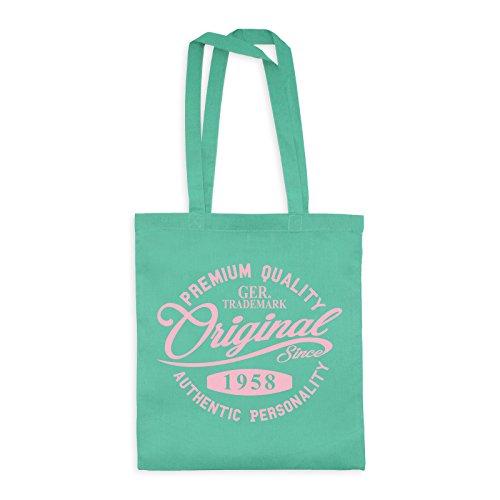 MDMA Shopper Cotton Bag Original Since 1958 Handwriting Premium Quality Textil mint / Motiv babyrosa - 42 x 38 cm -
