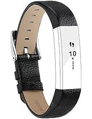Pour Fitbit Alta/Alta HR Bracelet de rechange en Cuir véritable Adepoy Fitbit Alta bands de Remplacement réglable avec Connecteur et Boucle métal en Acier Inoxydable pour Fitbit Alta ou Alta HR Montre sans tracker