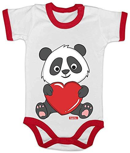 HARIZ Baby Body Ringer Panda Umarmt Herz Tiere Zoo Plus Geschenkkarte Weiß/Rot 3-6 Monate -