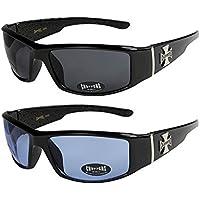 2er Pack Locs 9058 X05 Sonnenbrillen Unisex Herren Damen Brille - 1x Modell 07 (schwarz glänzend - Skull-Design / schwarz getönt) und 1x Modell 08 (schwarz glänzend - Square-Design / schwarz getönt) Ze1n9X