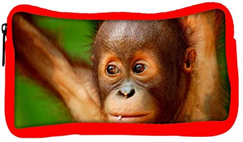 Snoogg Eco Friendly Canvas Baby Chimpanese Designer Student Pen Pencil Case Coin Purse Pouch Cosmetic Makeup Bag