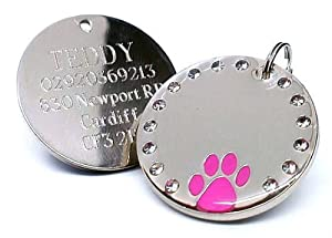 30mm Round Crystal and Pink Paw Dog Pet ID Tag Disc Engraved from County Engraving