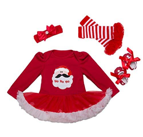YuanDian Baby Mädchen 4tlg Kleid Weihnachten Bekleidung Set Neugeborenes Outfit Kleinkind...