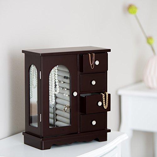 Relaxdays Schmuckkästchen mit Tür HxBxT: ca. 30 x 26 x 11 cm großer Schmuckkasten mit 4 Fächern Schmuckschrank aus Holz mit Schubladen und Spiegel Schränkchen mit Schmuckhalter für Ketten, dunkelbraun - 2