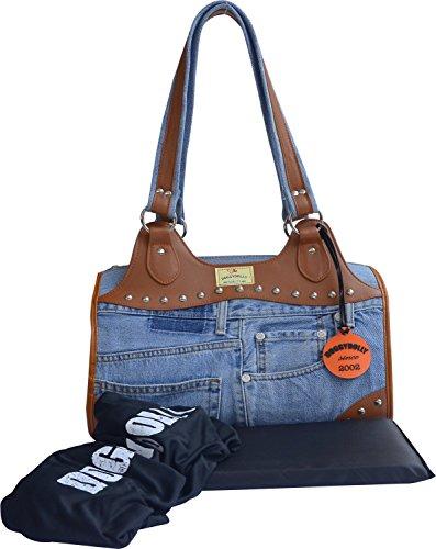 Blaue Nieten-handtasche (Doggy Dolly PC121 Hundetasche Jeans Nieten mit Trageriemen, Reisetasche, blau)