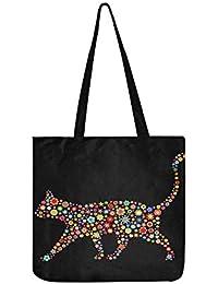 Ector - Bolso de mano con diseño de gato con ilustración de un lote de M