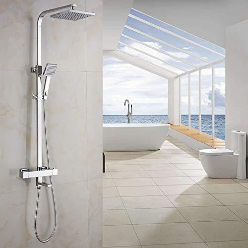 WETRR Badezimmer-Duscharmatur-Set, Bade-Duscharmatur, Wandmontage, Mischbatterie Wanddusche, Wasserfall, Edelstahl Panel-Massage