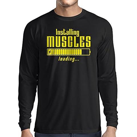 T-Shirt Manches Longues Homme Vêtements musculaires - pour musculaires, design vintage, vêtements de fitness (X-Large Noir Jaune)