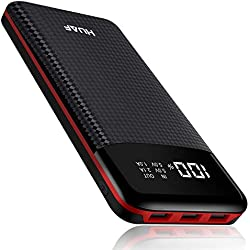 HUAF Batterie Externe Power Bank 24000mAh Portable Chargeur 3 Ports de Sortie USB avec Affichage Numérique Intelligent de L'alimentation LCD, Compatible avec iPhone, Huawei et Tablette