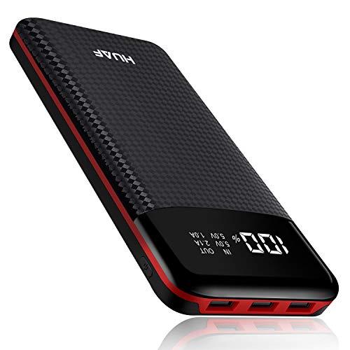 HuaF Batterie Externe Power Bank 24000mAh Portable Chargeur 3 Ports de Sortie USB avec Affichage Numérique Intelligent de L'alimentation LCD,Compatible Tous Smartphones Tablettes USB Via Device