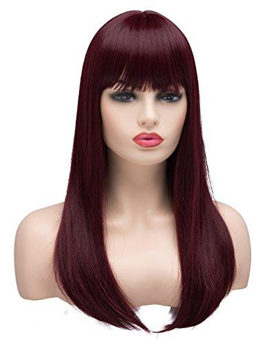 Perücken für Frauen Damen Synthetik Full Hair Natural Burgund Wein Rot Ombre Perücke mit Bang für Cosplay Kostüm oder Leben (Box Wein Kostüm)